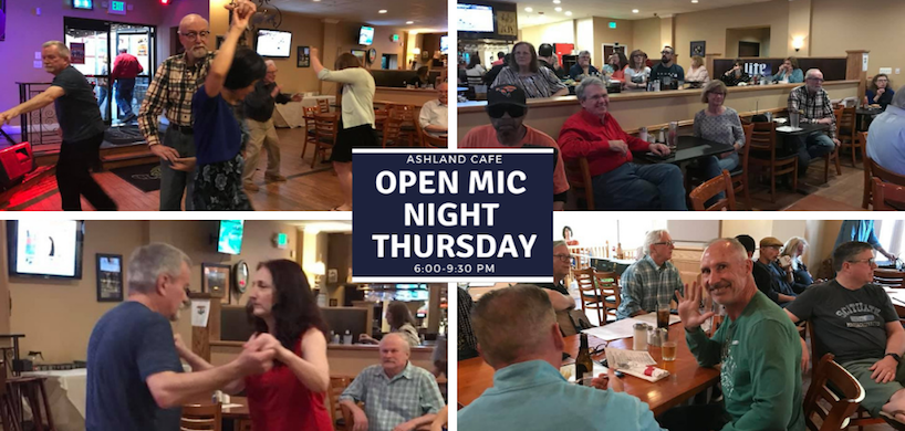 photo collage of Open Mic event at Ashland Cafe