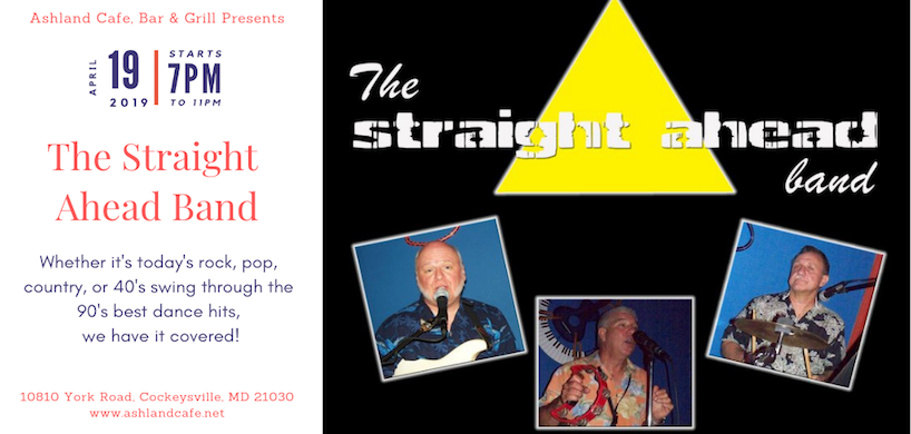 flyer for Straight Ahead band's live performance at Ashland Cafe
