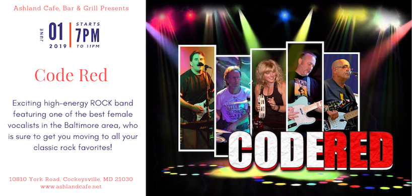 flyer of Code Red band's performance at Ashland