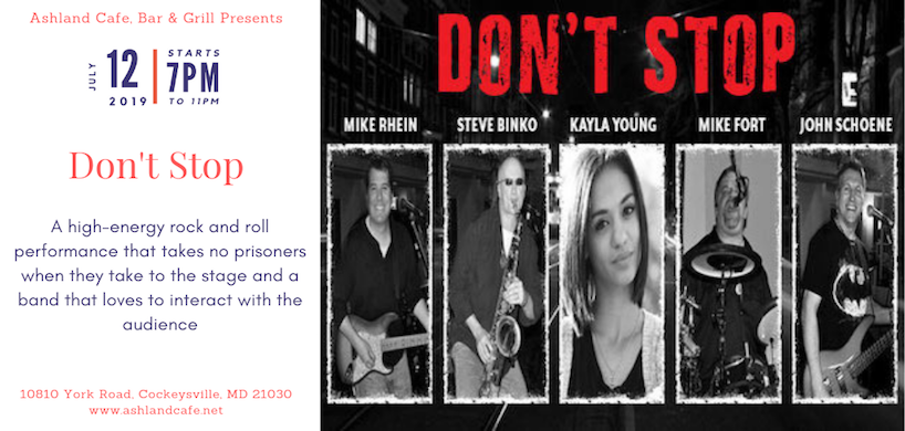 flyer of Don't Stop Band performance at Ashland