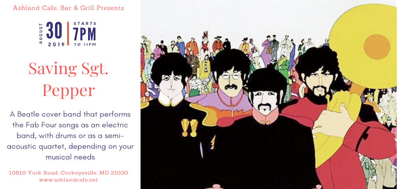 flyer of Saving Sgt Pepper band's performance at Ashland